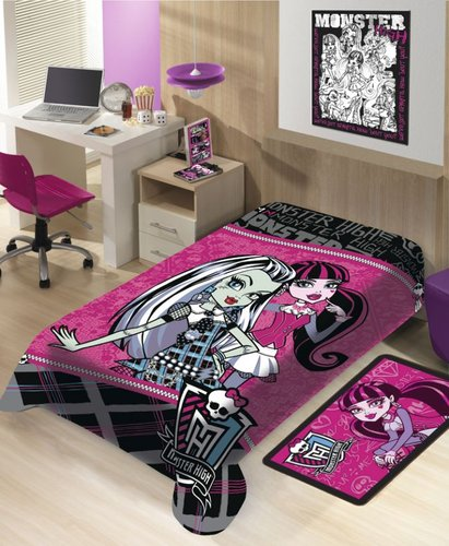 Manta Solteiro Microfibra Monster High - Jolitex