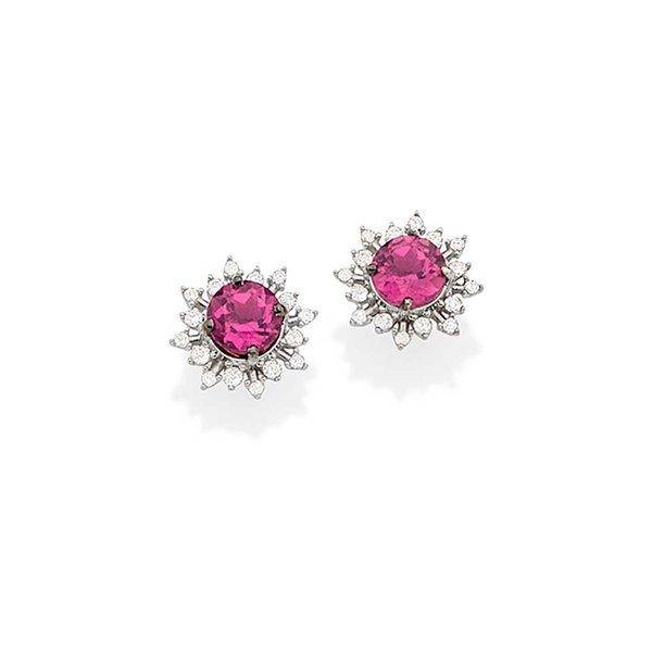 Brincos em Ouro Branco, Diamantes e Turmalina Rosa   Casa Affonso ba8d175f8d
