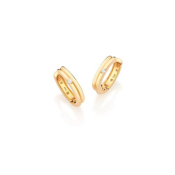 5db212b7fb14c Brincos Argola em Ouro Amarelo e Diamantes   Casa Affonso