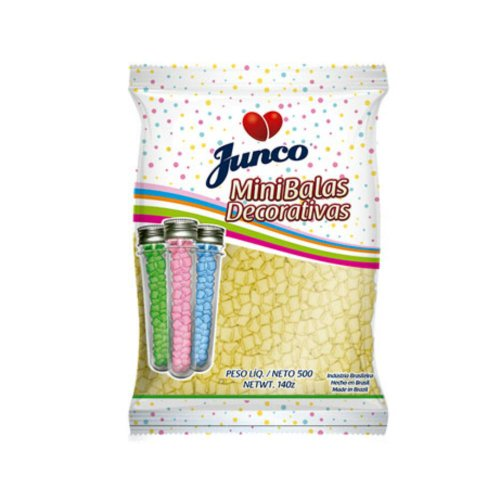 Mini Balas Decorativas De Coco Amarela Junco 500g