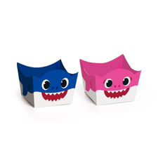 Forminha para Doces Cachepot Mommy e Daddy Shark Cromus 24Un