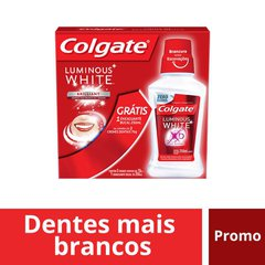 Creme Dental Colgate Luminous White Brilliant Mint com 3 unidades 70g cada - Ganhe 1 Enxaguante Bucal
