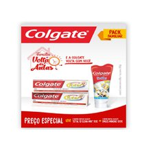 Kit Creme Dental Colgate Clean Mint Total 12 com 2 unidades 90g  + Gel Dental Smiles Minions