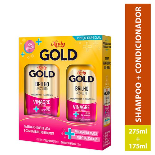 Kit Niely Gold Mega Brilho Shampoo 300ml + Condicionador 200ml