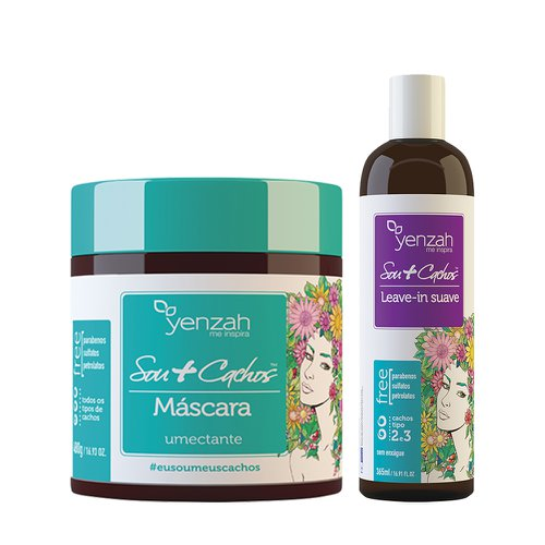Kit Yenzah Sou+ Cachos Máscara de Tratamento Umectante 480g + Leave-In suave  365ml