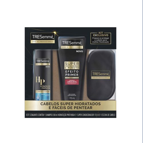 Kit TRESemmé Shampoo Hidratação Profunda 200ml+Super Condicionador 170ml+Escova Exclusiva