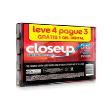 Kit Creme Dental Close Up Fresh Action Red Hot 90g Leve 4 Pague 3 Unidades