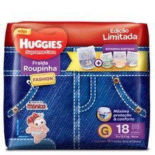 Fralda Huggies Roupinha Fashion Supreme Care G 18 Fraldas