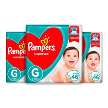 KIT FRALDA PAMPERS SUPERSEC HIPER G C/46 TIRAS C/3 UNID. - PAGUE 33,99 CADA