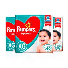 KIT FRALDA PAMPERS SUPERSEC HIPER XG C/40 TIRAS C/3 UNID. - PAGUE 33,99 CADA