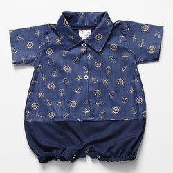 e5fd8e38e1 Macacão Curto de Bebê Marinheiro Âncora Marinho