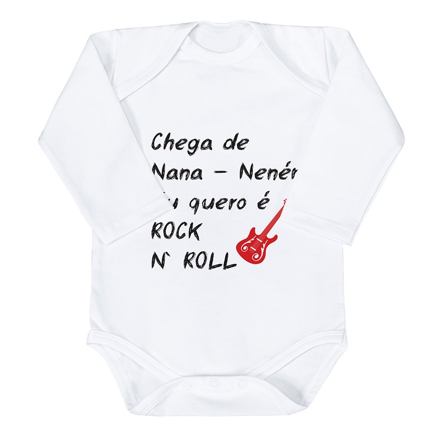 Body de Bebê Rock And Roll Estampado Manga Longa