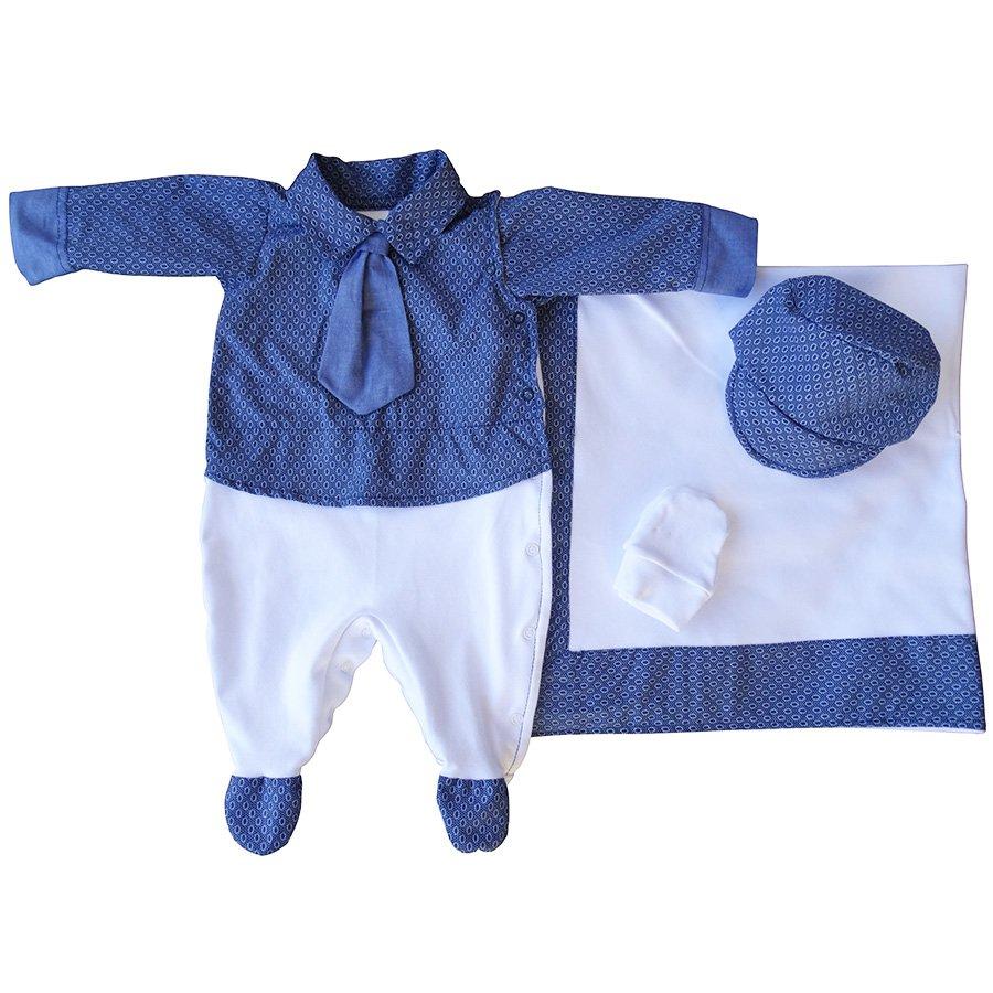 Saída de Maternidade Príncipe Gravata Azul 4 Peças  173859219bf