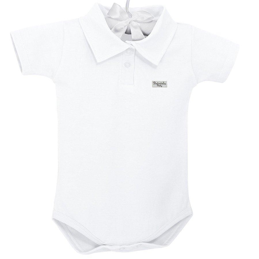 51135fc54d Body de Bebê Manga Curta Branco Liso Pólo