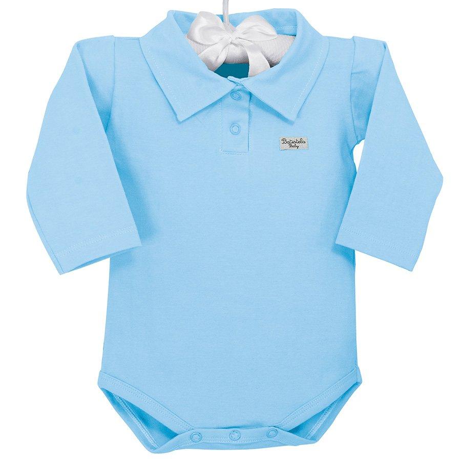 172b1c3c1d Body de Bebê Manga Longa Azul Liso Pólo