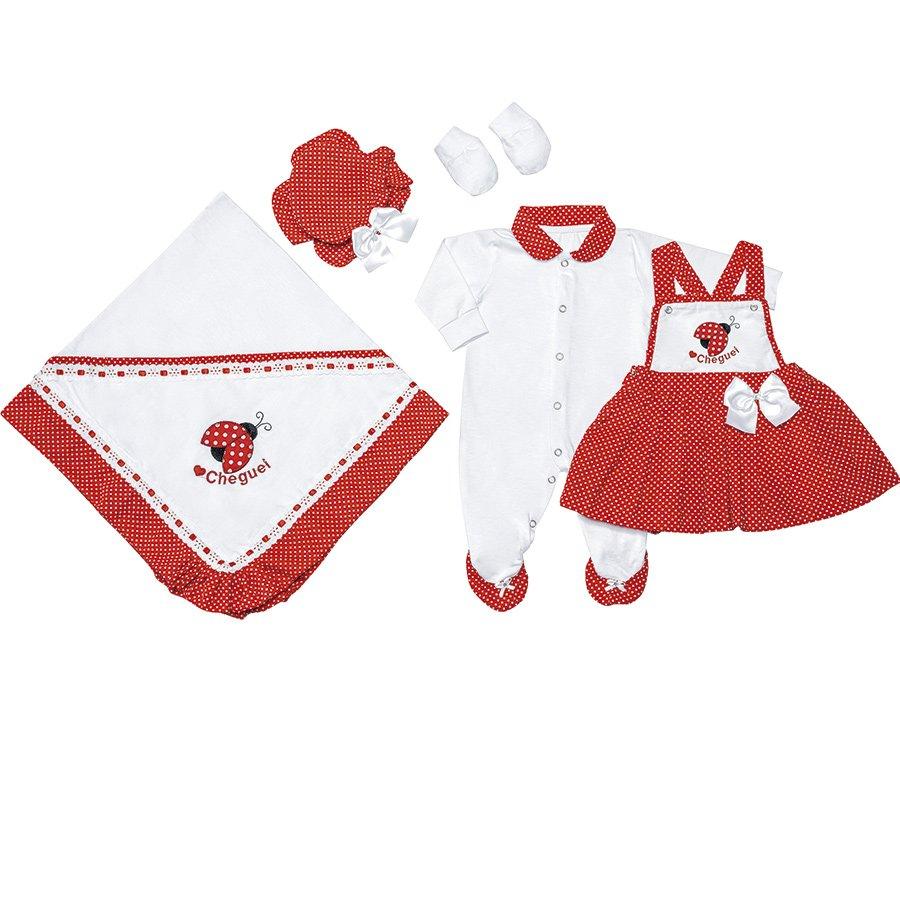 Saída de Maternidade Joaninha Vermelho 5 Peças  f889d0118ef