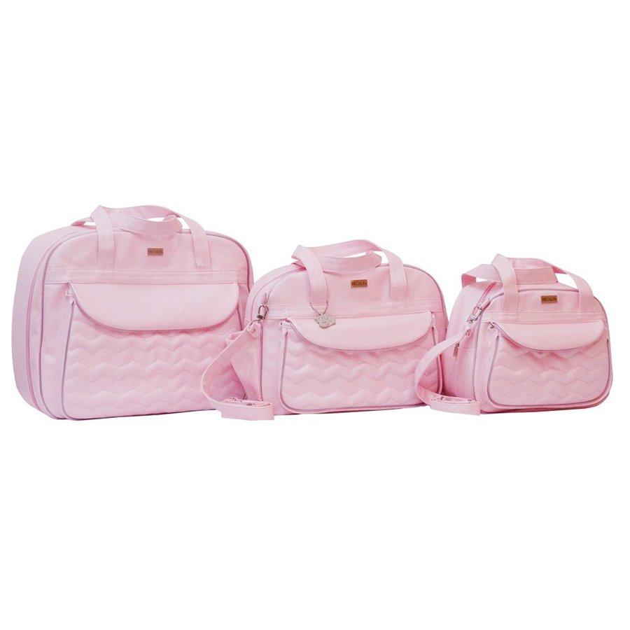 10972fc3c2 Bolsas de Maternidade Chevron Rosa 3 Peças