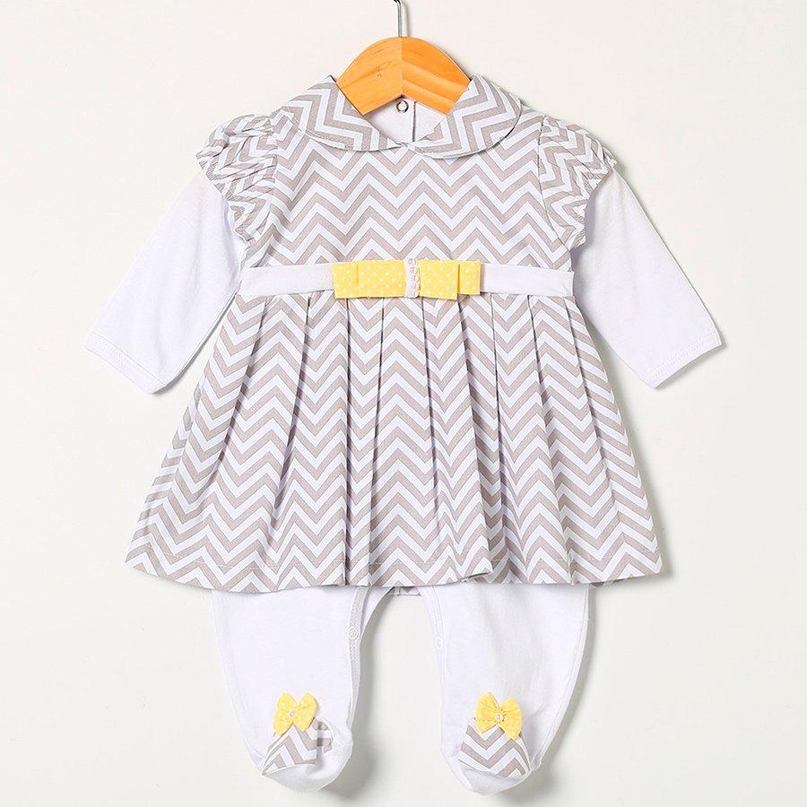 b4aeb9529805e Macacão Longo de Bebê Poá e Girafa Rosa 2 Peças