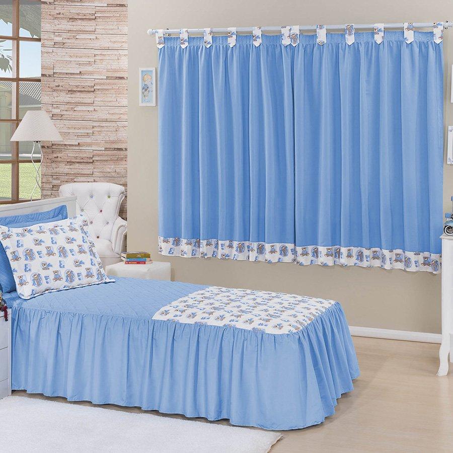 Kit Colcha Cama Solteiro Cortina Juvenil Azul Essencial Enxovais -> Cortinas Para Sala Azul