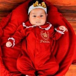 Saída Maternidade Princesa Vermelho Dourado  79fd8be8710