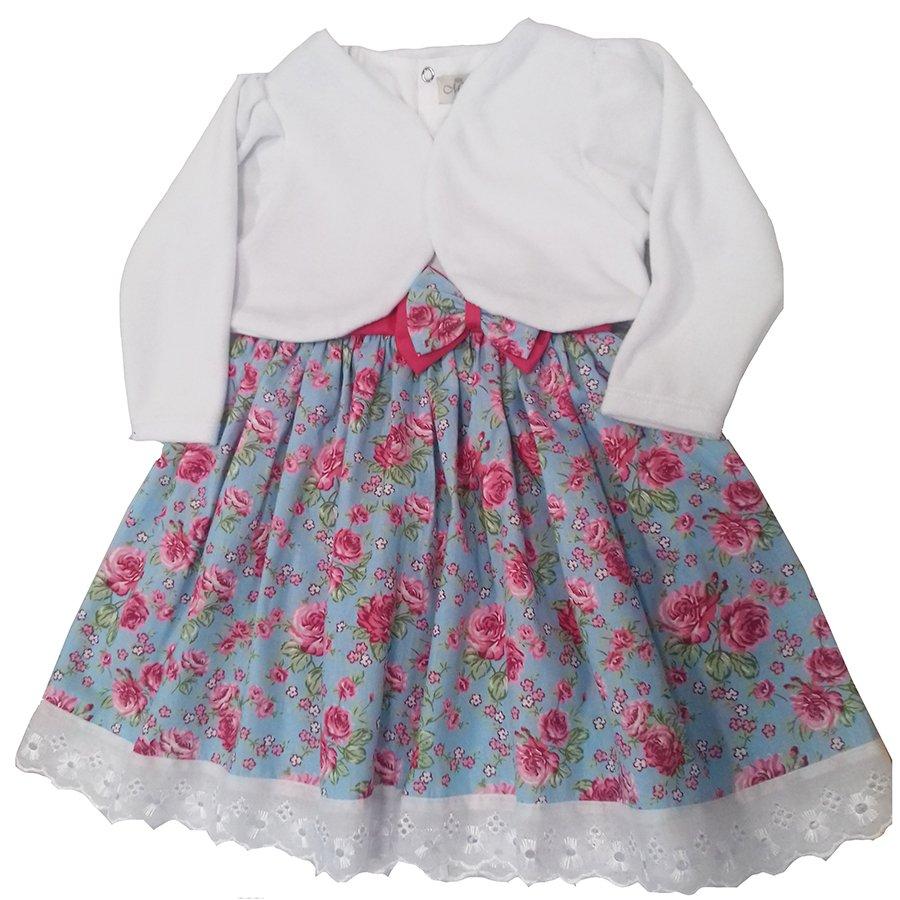5efc419b7 Vestido de Bebê Flor de Liz 2 Peças