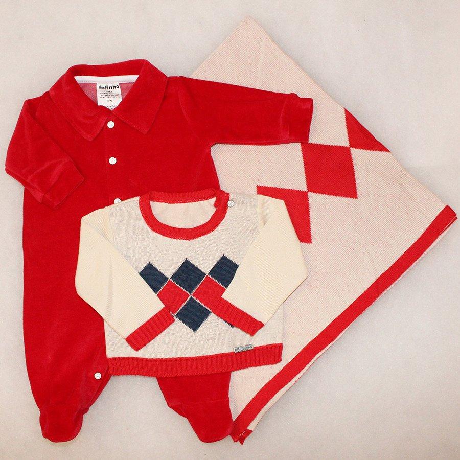 d9ceab99468b8 Saída de Maternidade Fofinho Clássica Vermelho Plush