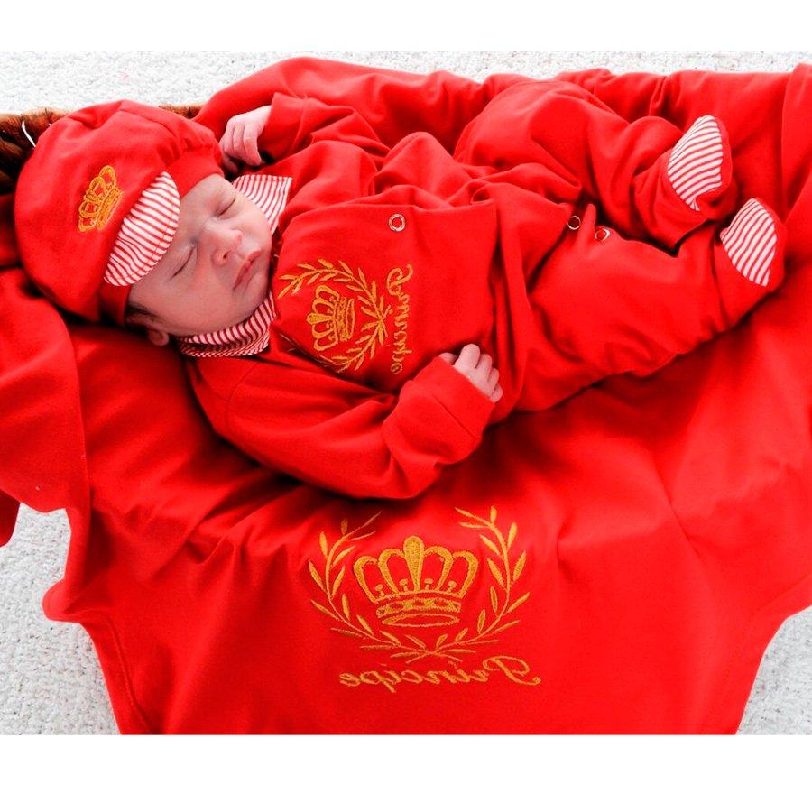 Saída de Maternidade Príncipe Vermelho com Dourado 60703a349df