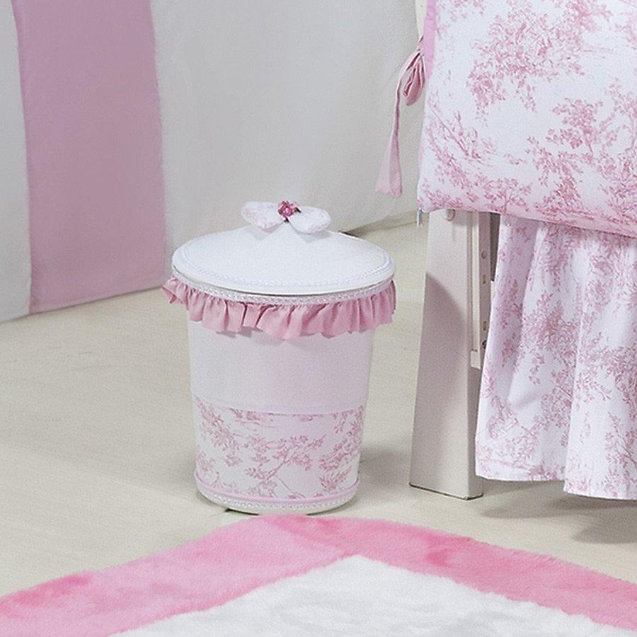 Lixeira Decorada Princesa Rosa Branco Quarto Enxoval Beb Menina  ~ Decoração Quarto Infantil Princesas