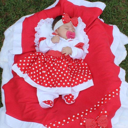 Saída De Maternidade Charmosa Vermelho 5 Peças