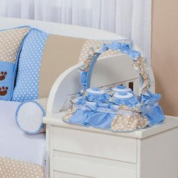 Cesta Decorada Papai Urso Azul