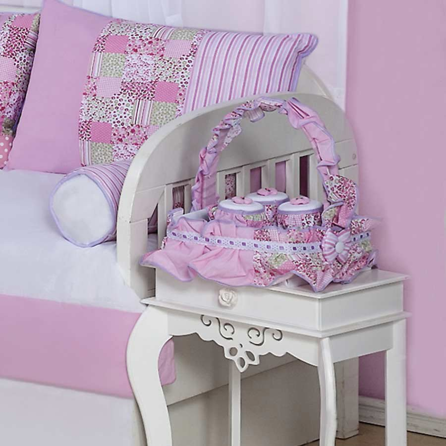 Jogo De Potes Quarto Enxoval Beb Menina 03 Pe As Boneca Mari Rosa  ~ Quarto Do Bebe Menina Com Quarto De Bebe De Luxo