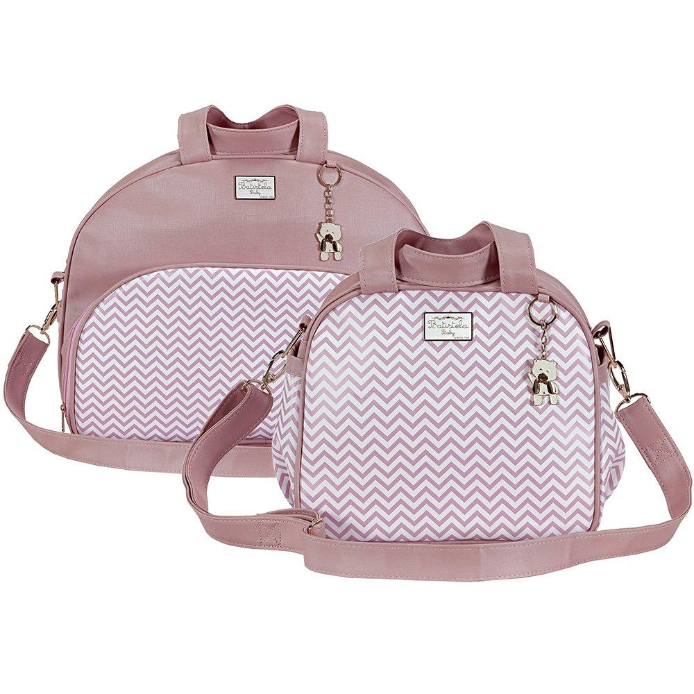 ea1fd12db Kit Bolsa Maternidade Chevron Rosa M e P | Essencial Enxovais