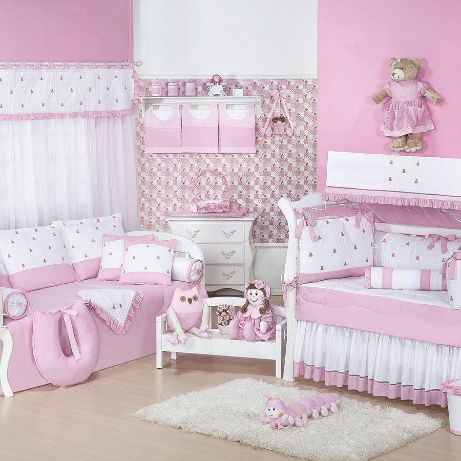 Quarto Completo Luxo Rosa Branco Beb Menina Essencial Enxovais ~ Quarto Do Bebe Menina Com Quarto De Bebe De Luxo
