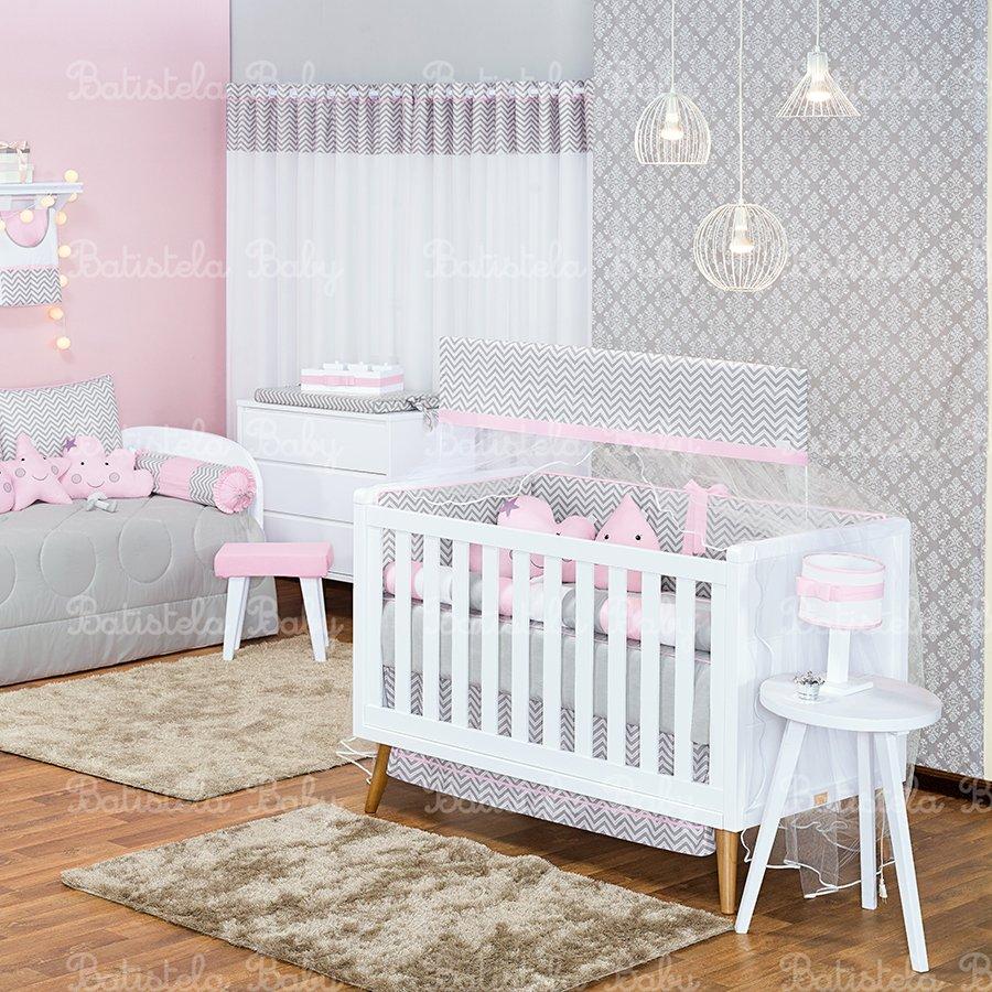 Quarto Bebê Nuvem Gotinha Rosa 26 Peças Essencial Enxovais
