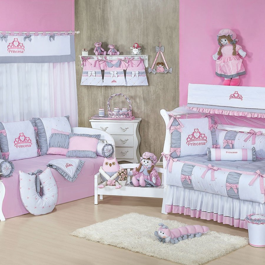 Quarto Completo Enxoval Beb Menina Princesa Rosa Cinza Branco  ~ Decoração Quarto Infantil Princesas