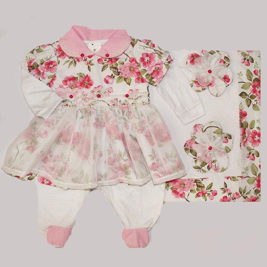 Saída de Maternidade Delicalle Floral Rosa 3664f11265f