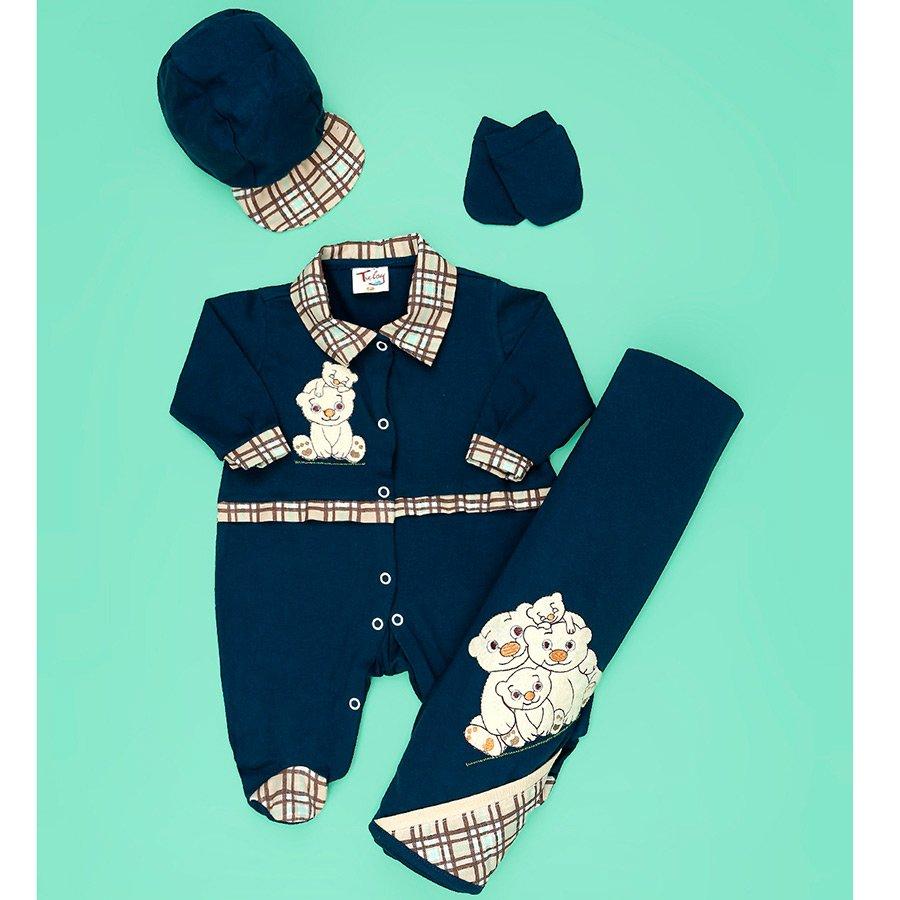 Saída de Maternidade Para Bebê Menino Família Urso Azul Malha 4 Peças dc04af5f59b