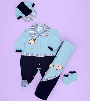 Saída de Maternidade Carneirinho Bebê Menino Azul Malha 04 Peças 2ac6807443a