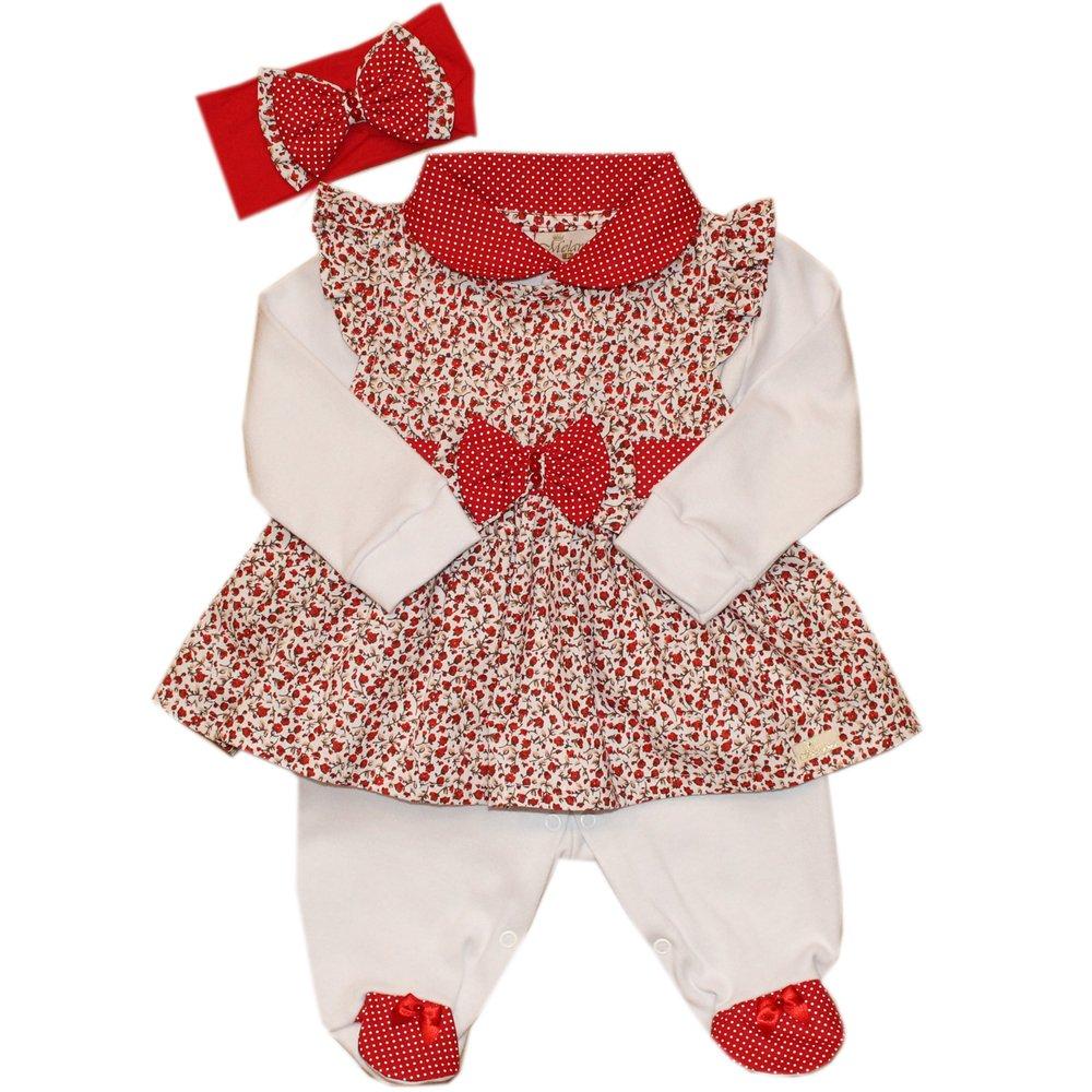 7c5e18063e Macacão Manga Longa Delicalle Florzinha Vermelha com Branco 3 Peças