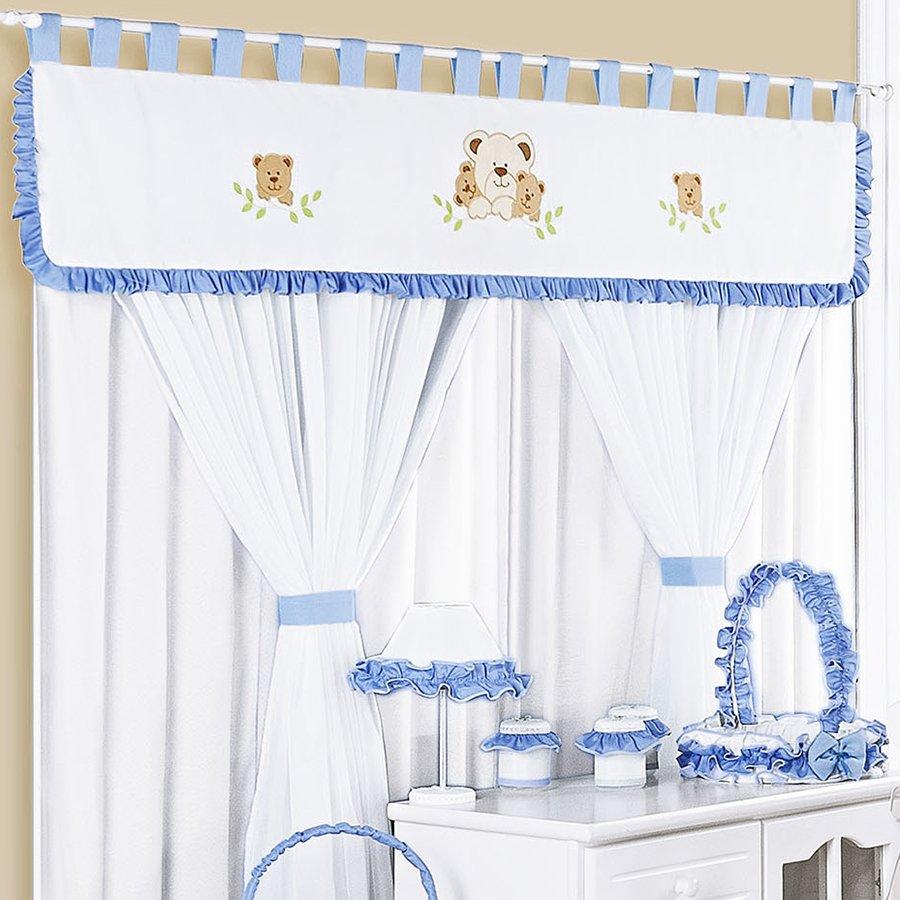 Cortina para quarto de beb menino family ursinhos 2 00m essencial enxovais - Cortinas para bebe ...