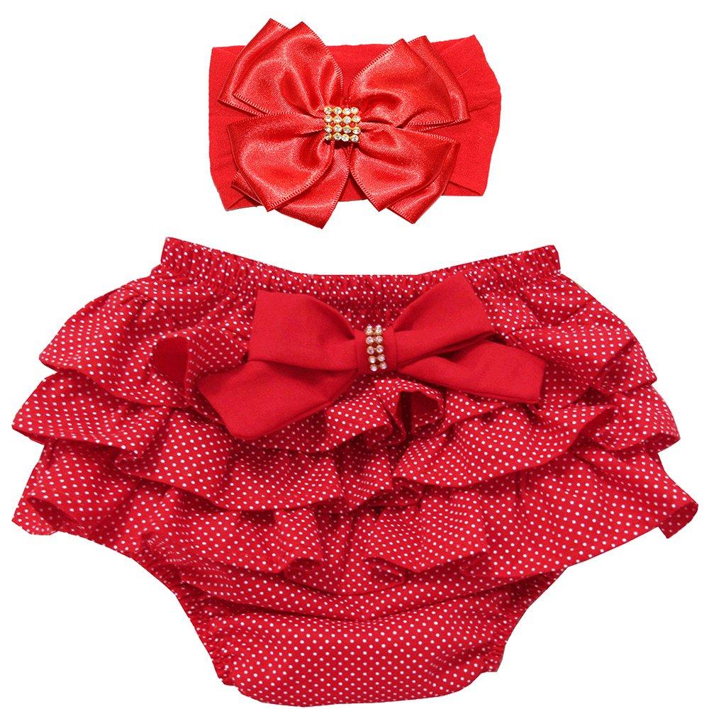 a188a1bd3 Calcinha de Bebê Floral Vermelho + Faixa de Cabelo