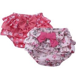 c8a899451 Kit Calcinha de Bebê Floral Vermelho e Rosa 2 Peças