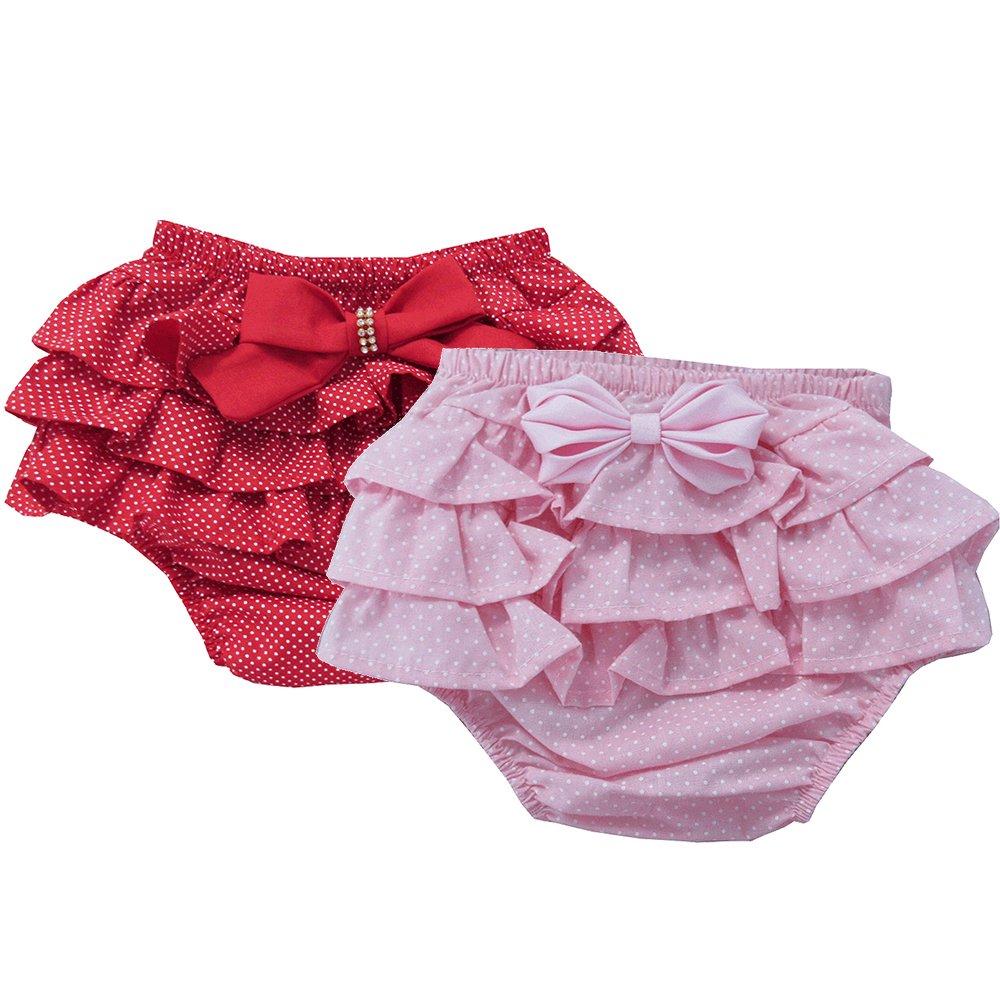 ea0a1b125 Kit Calcinha de Bebê Floral e Poá Vermelho 2 Peças