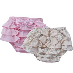 11abbb590 Kit Calcinha de Bebê Poá Rosa e Floral Palha 2 Peças