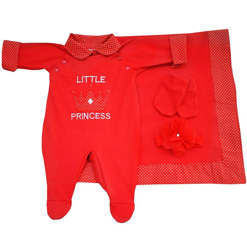 Saída de Maternidade Princesa Coroa Vermelho 4 Peças  33066d1ccd9