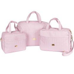64c5ac4c7020b Kit Bolsa Maternidade Elegance Rosa 3 Peças