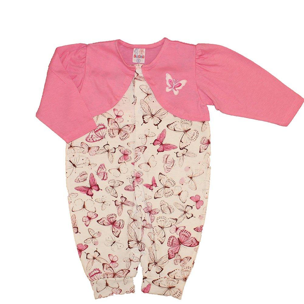 Macacão Longo de Bebê Borboletinha Rosa  ed3eb263cb33