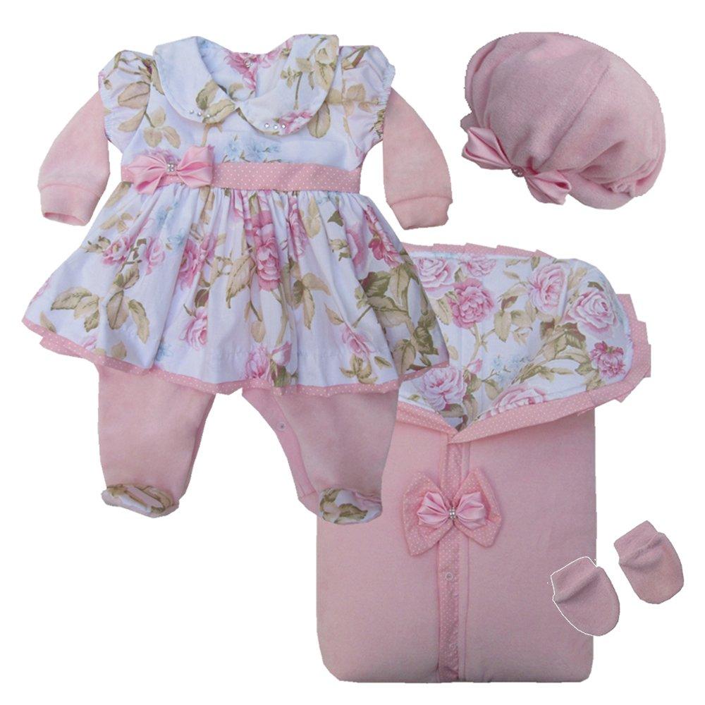 18588aad2bc6b Saída de Maternidade Luxo Floral Rosa Plush 4 Peças