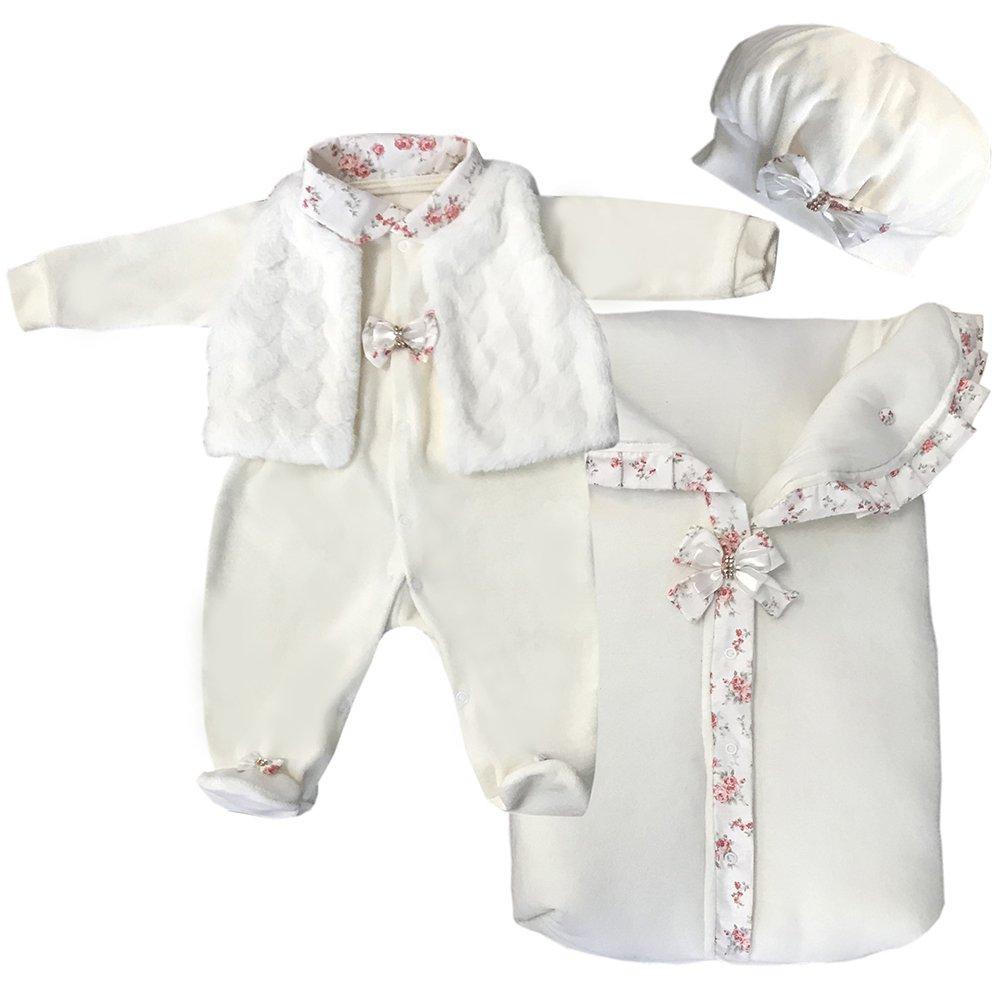 10162cd9e60f3 Saída de Maternidade Luxo Palha Plush 4 Peças