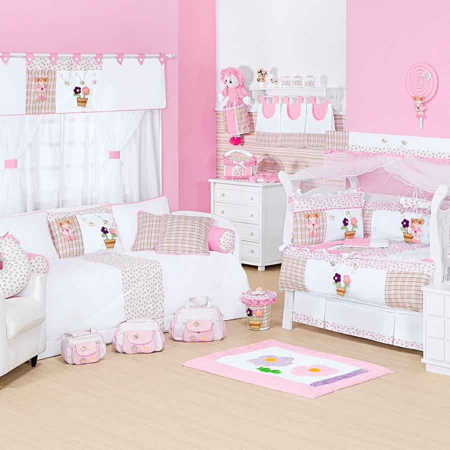 Quarto Completo Sem Cama Baba Happy Baby Ursinha Menina Floral  ~ Quarto Feminino Com Cama Box E Quarto Bebe Rosa E Cinza